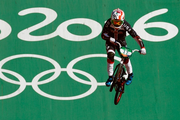 Alise Post of the United States competes in the women's seeding run at the Olympic BMX Center during the 2016 Summer Olympics in Rio de Janeiro, Brazi