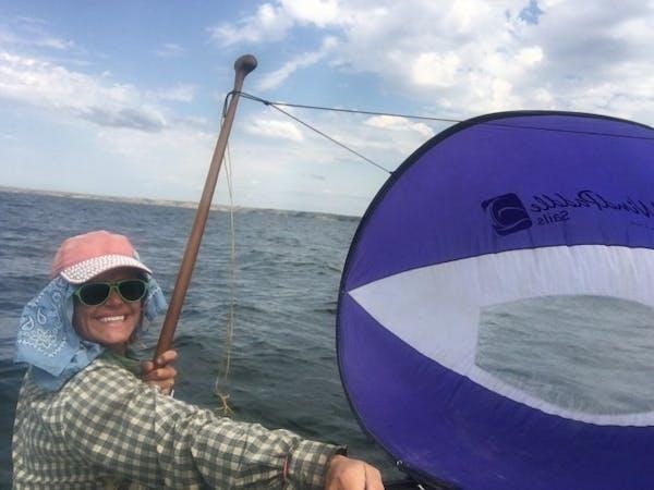 Alyce Kuenzli used a sail.