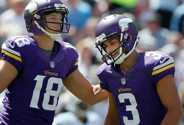 Vikings kicker Blair Walsh missed field-goal attempts of 37 and 56 yards as well as a PAT at Tennessee on Sunday, but also made four attempts, includi