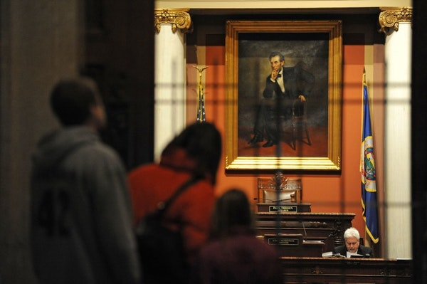 A portrait of Abraham Lincoln hangs in the Minnesota House Chamber, where Nolan West hopes to serve.