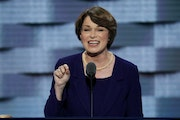 Sen. Amy Klobuchar, D-Minn., speaks during the second day of the Democratic National Convention in Philadelphia , Tuesday, July 26, 2016. (AP Photo/J.