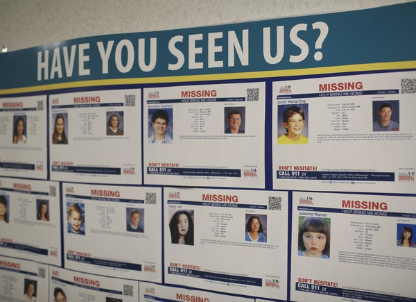 A flier with Jacob Wetterling's information on it remains on the bulletin board of missing children at the Jacob Wetterling Resource Center in Minneap