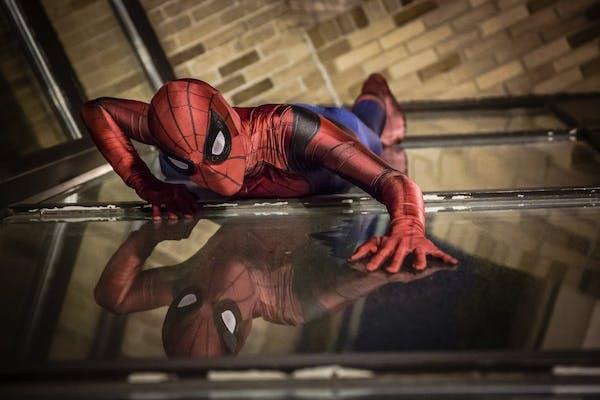 Bemidji teen Jaxon Anderson as Spider-Man for his senior portraits.
