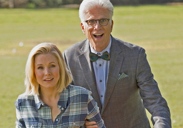"""Kristen Bell, left, plays a woman who dies and goes to the wrong place in NBC's new comedy, """"The Good Place."""""""