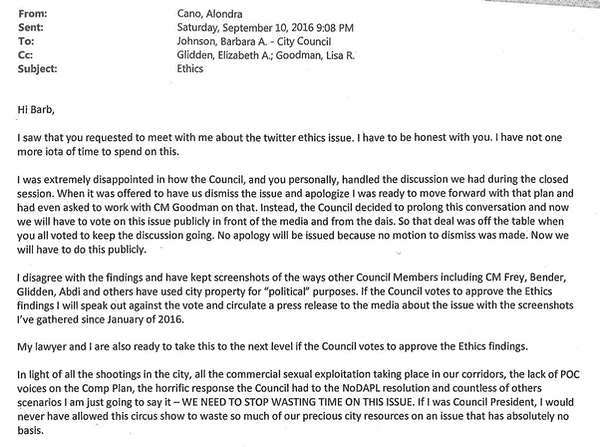 Read the email from Alondra Cano