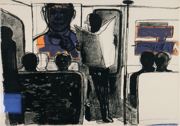 """Staffan Hallstrom, T-bana Milijo (In the Subway), 1971, Lithograph. The piece is on view as part of the American Swedish Institute's """"A Different Way"""