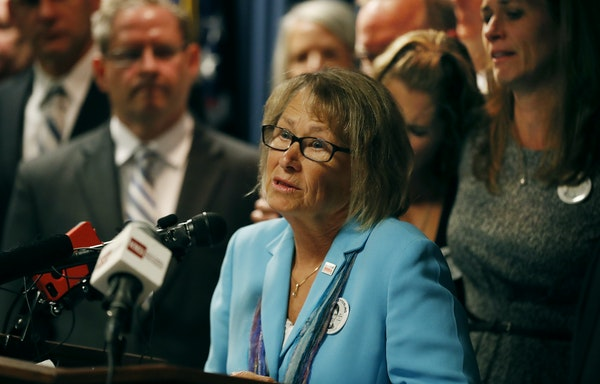 Patty Wetterling spoke a new conference Tuesday September 6, 2016 in Minneapolis, MN.