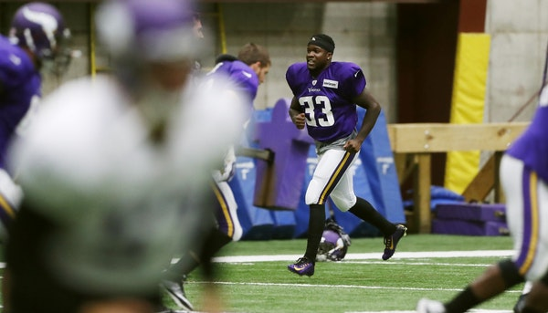 Vikings newly signed running back Ronnie Hillman worked on drills Wednesday at Winter Park