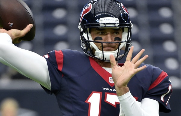 Houston Texans quarterback Brock Osweiler throws during warmups before an NFL preseason football game New Orleans Saints in Houston, Saturday, Aug. 20