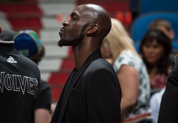 Minnesota Timberwolves forward Kevin Garnett (21) looked on during a game in April. Garnett played in 38 of the team's 82 games last season.