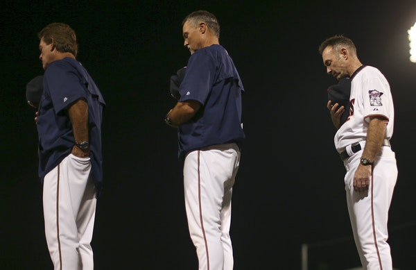 Paul Molitor's pitching coach, Neil Allen (left), and hitting coach, Tom Brunansky (middle) have expressed a desire to return.
