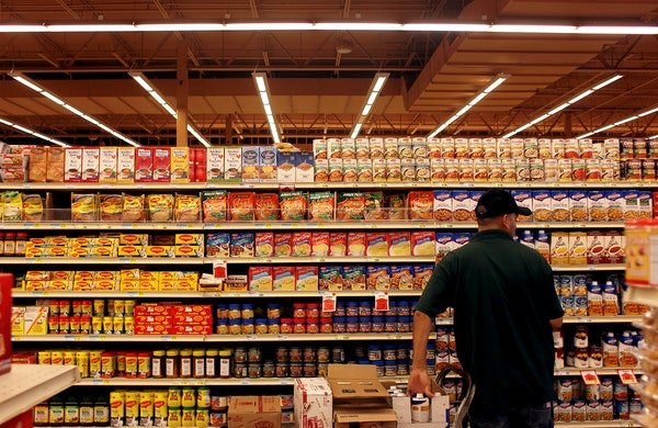 The soup aisle is restocked at a grocery store in Aurora, Illinois on August 23, 2012. (Keri Wiginton/Chicago Tribune/MCT)