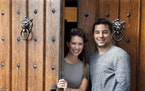 Owners Eric and Vanessa Carrara at the front door of the Italian Eatery.