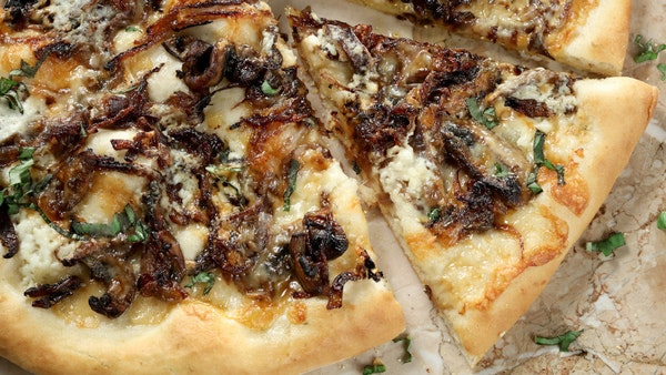 The white pizza with carmelized red onions and mushrooms is stunning in its simplicity.