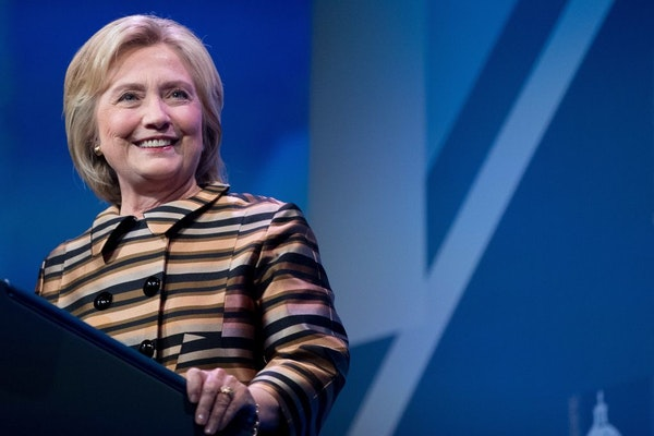 Democratic presidential candidate Hillary Clinton pauses while speaking at the Congressional Hispanic Caucus Institute's 39th Annual Gala Dinner at th