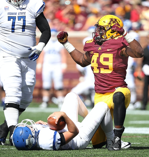 Minnesota Gopher linebacker Kamal Martin celebrated after he sacked Indiana State's quarterback Isaac Harker in the second quarter as the Gophers took