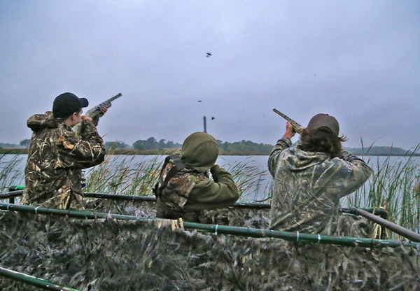 Trevor Unruh, left, Riley Mcalpine and Ryder Beckman drew down on a few blue-winged teal Saturday morning, opener of the 2016 Minnesota duck season. T
