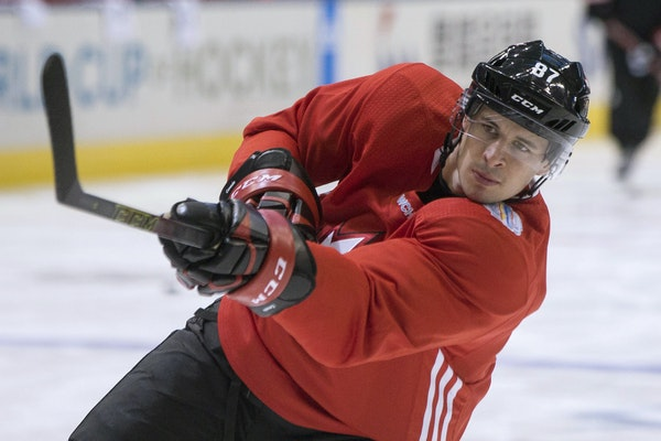 Team Canada's Sidney Crosby took a shot on net during a training session ahead of the World Cup of Hockey in Toronto on Friday.
