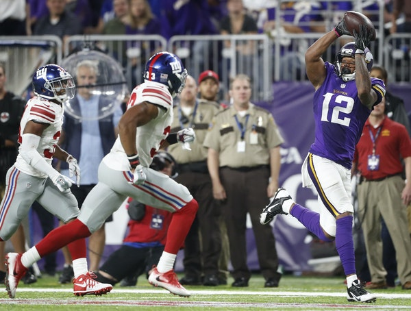 Charles Johnson got behind Giants defensive back Andrew Adams for a 40-yard gain, setting up a final TD in the fourth quarter.