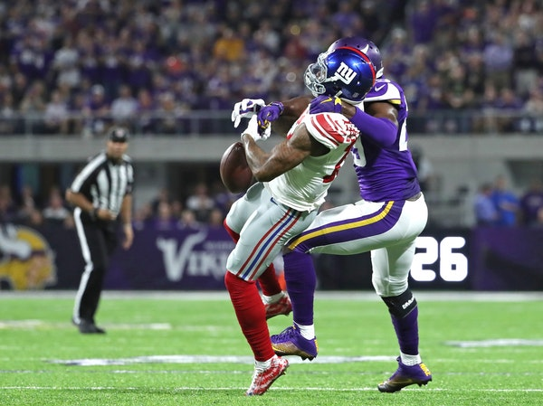 Vikings Xavier Rhodes had Giants reciever Odell Beckham Jr. covered on this play Mondya night.
