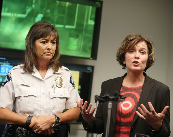 Mayor Betsy Hodges and Chief Janee Harteau held a news conference Monday to address downtown crime following the latest shootings that left six injure
