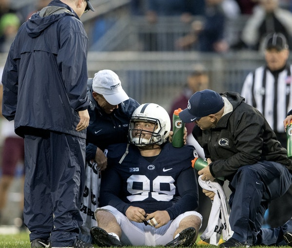 """Trainers tended to Penn State kicker Joey Julius, who was hit late by Gophers linebacker Jaylen Waters on Saturday. Waters was ejected. """"I care abou"""