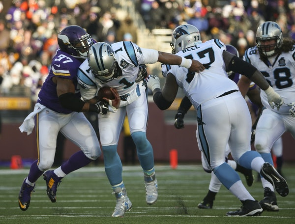 Minnesota Vikings defensive end Everson Griffen (97) had a fourth quarter sack of Carolina Panthers quarterback Cam Newton (1) for an eight yard loss