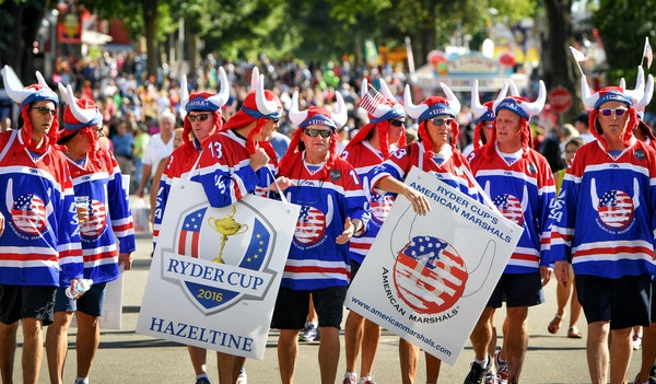 The American Marshals, a colorful and vocal legion of fans who have attended recent Ryder Cups, were out in force at the State Fair and are hoping for