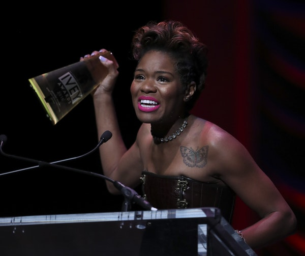 Jasmine Hughes accepted her award for acting in Sunset Baby, a Penumbra production.