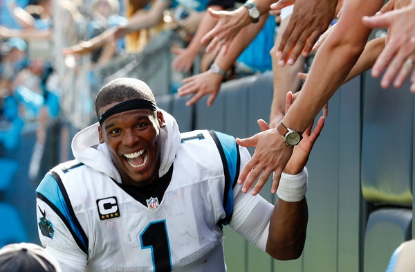 Carolina Panthers quarterback Cam Newton celebrated after Sunday's 46-27 victory over the San Francisco 49ers.
