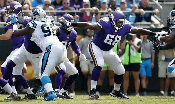 The Vikings' T. J. Clemmings (68) played well in his first start at left tackle Sunday, replacing injured Matt Kalil. Clemmings was a surprise starter