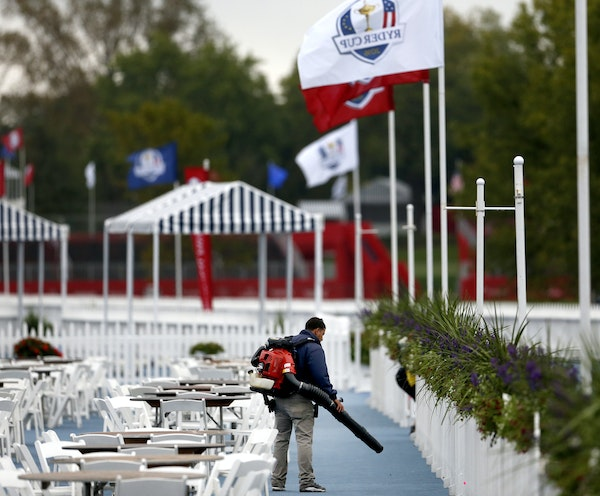 More than 80 hospitality tents sprouted at Chaska's Hazeltine National Golf Club.