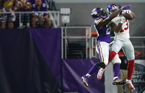 Cornerback Xavier Rhodes deflected a pass away from the Giants' Odell Beckham Jr. on Monday and held him to a career-low three catches. Since Mike Z