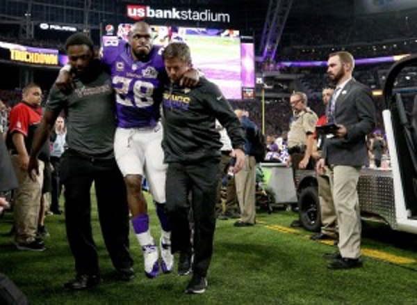 Here's why Peterson was taken off field through a stadium club