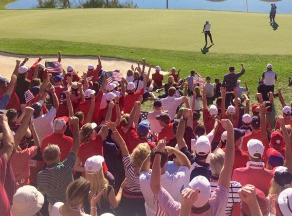 Ryan Moore sent the Hazeltine National crowd into a frenzy when he scored an eagle on the 16th hole Sunday.