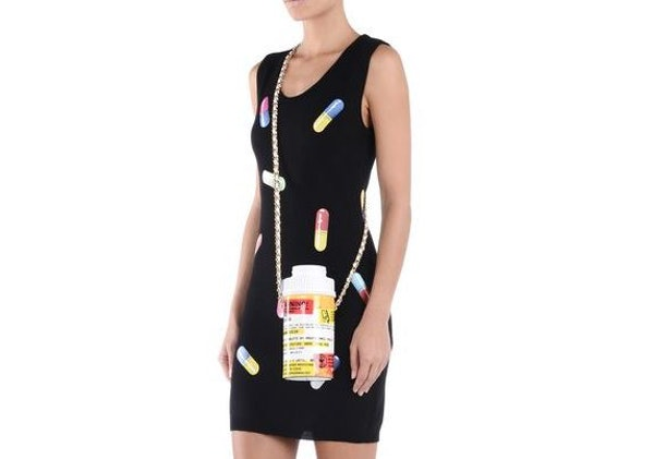 The Capsule collection shoulder bag is $950 and made in the shape of a prescription pill bottle.