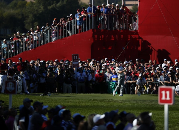 Rory McIlroy teed off on the 11th hole during the afternoon session of the Ryder Cup on Saturday.