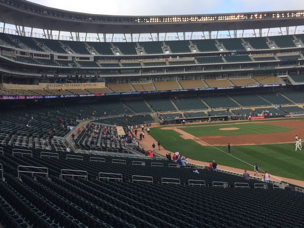 This was the way Target Field looked just before Brian Dozier's first-inning home run on Thursday, with the upper levels closed off and only several h