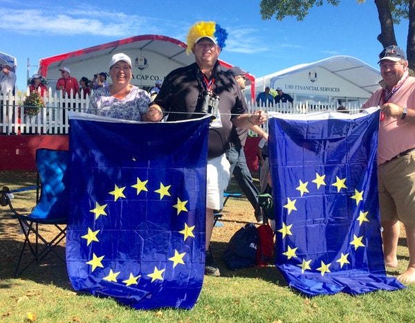 """Christine and Michael Jones from Wales set up camp next to the ninth fairway on Sunday. The couple said they had """"just a brilliant time here."""""""