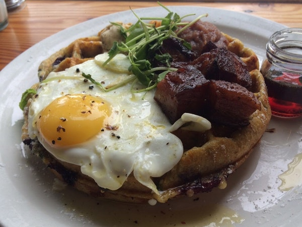 The savory waffle at Birchwood Cafe in Minneapolis.