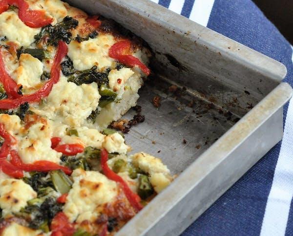 Broccolini and Ricotta Pan Pizza.