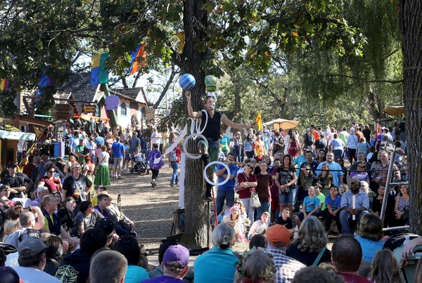 The closing weekend for the Minnesota Renaissance Festival saw near perfect weather Saturday, Oct. 1, 2016, in Shakopee, MN. Here, Tuey the comic stun