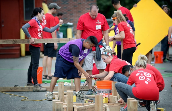 Target employees teamed up with KaBOOM! to build a playground at the Sabathani Community Center in south Minneapolis.