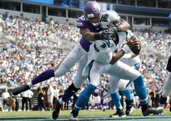 Vikings defensive end Danielle Hunter sacked Panthers quarterback Cam Newton in the end zone for a safety in the first quarter. ] CARLOS GONZALEZ cgon