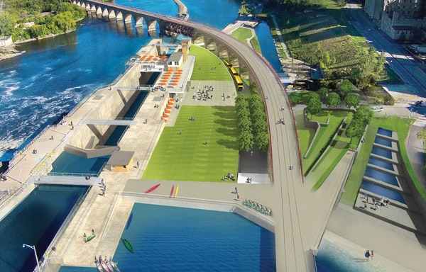 This view shows the preliminary concept for the Falls at the Upper St. Anthony Lock and Dam. It includes an enclosed viewing platform for the lock and