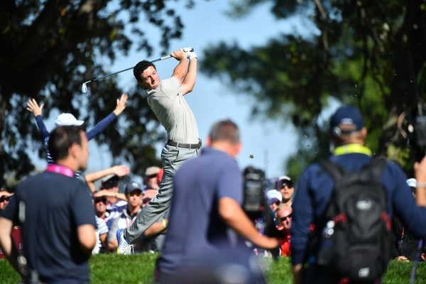Europe's Rory McIlroy teed off on the eighth hole during the afternoon four-ball matches at the Ryder Cup.