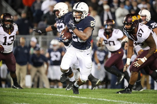 Penn State running back Saquon Barkley broke away from the Gophers defense on the Nittany Lions' first play from scrimmage in overtime for the game-wi