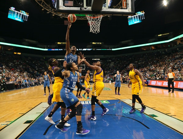 Minnesota Lynx center Sylvia Fowles (34) scored late in the fourth quarter. She finished with 13 points in the Game 2 victory over LA.