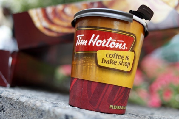 A Tim Hortons' coffee cup is seen in a New York store.