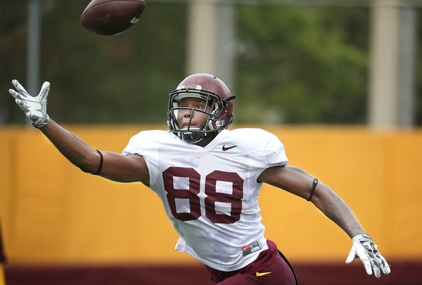 Gophers wide receiver Rashad Still, who suffered a broken clavicle in the Sept. 1 season opener, has been practicing in a green non-contact jersey thi